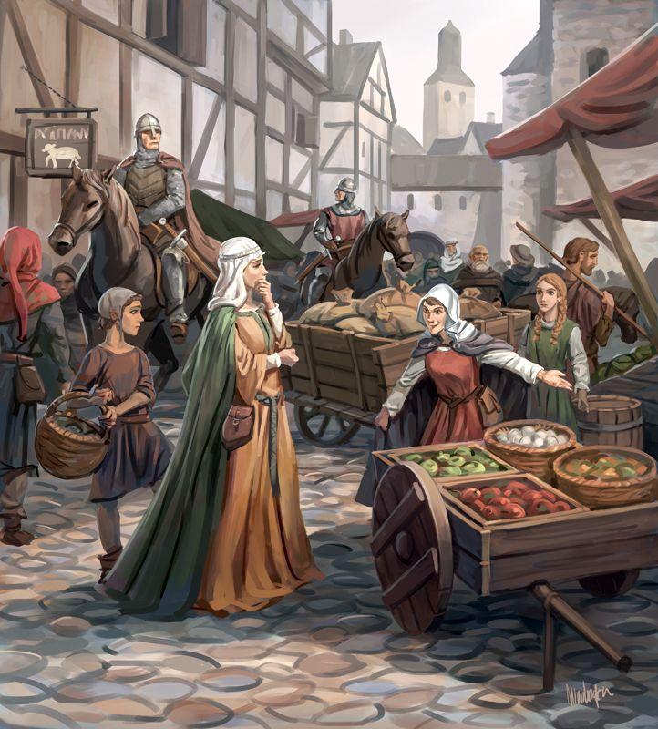 lustración de Mercado Medieval
